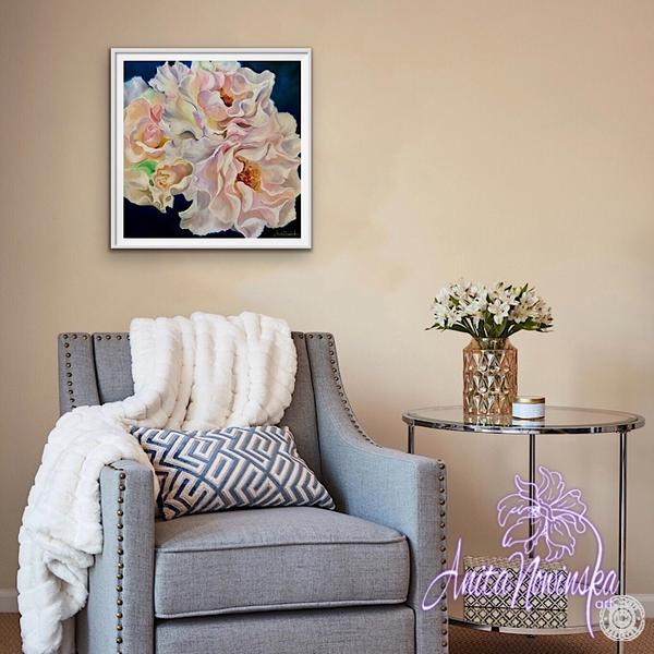 'Tenderness' Big Flower painting of pink blush Margaret Merrill roses