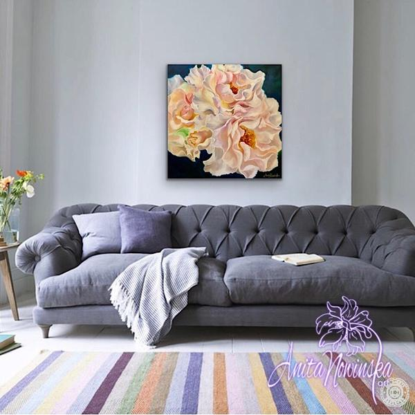 living room decor with Flower painting peachy blush roses,