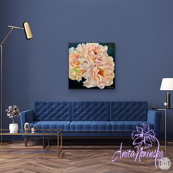 Navy living room decor with Big Flower painting peachy blush roses