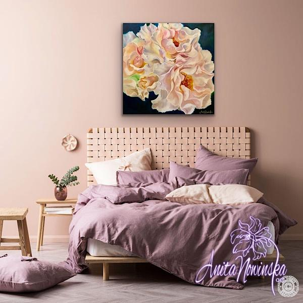 Bedroom decor with floral painting of pink blush roses