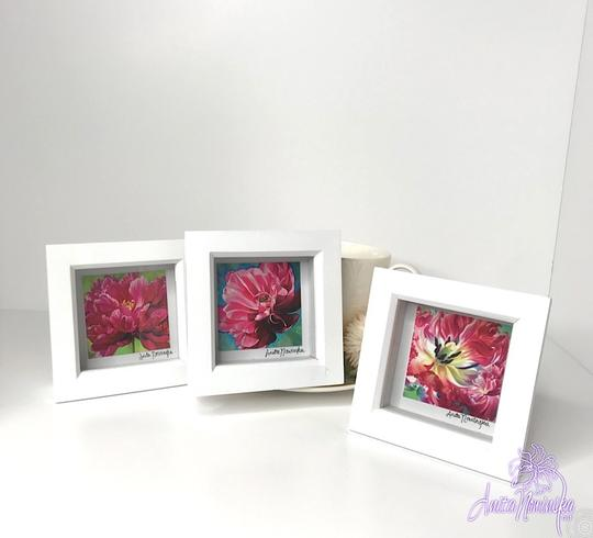 small framed floral prints of pink tulip flower paintings as gifts or presents