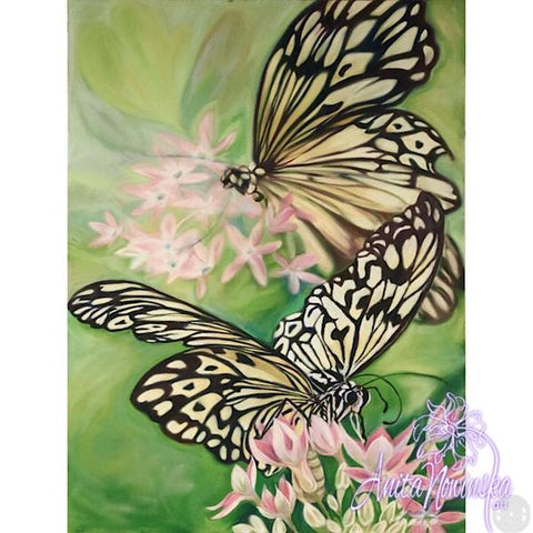 Big Painting of black & white rice paper butterflies on bright green backgound & buddleja flowers Anita Nowinska