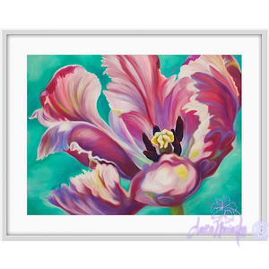 Transition-Pink tulip on turquoise backgound, flower painting by anita nowinska