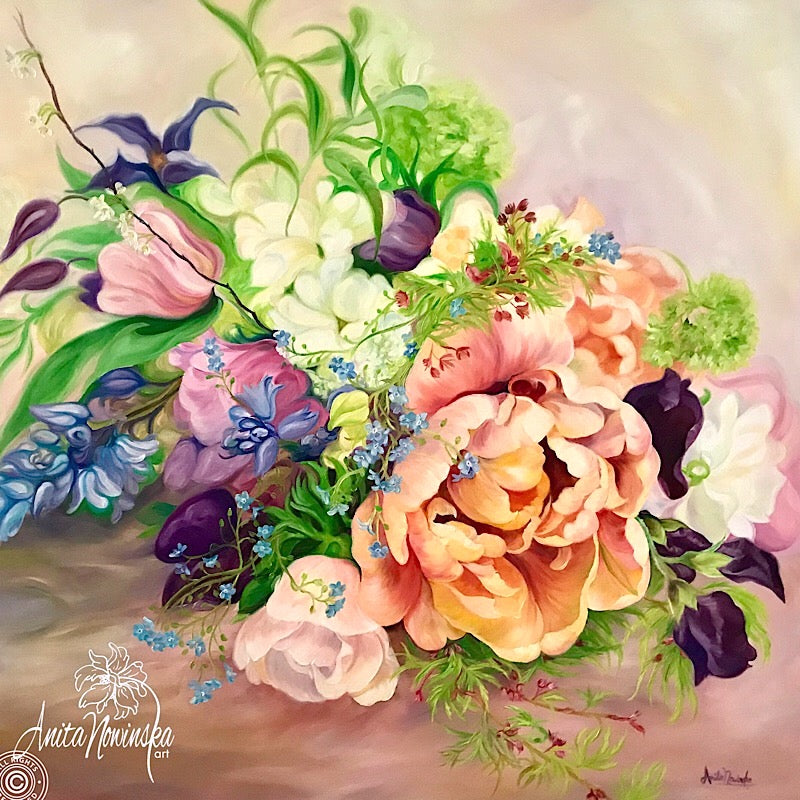 Wedding bouquet floral painting by Anita Nowinska. Big flower painting in oil on canvas of Spring flowers, tulip, clematis & sweet peas