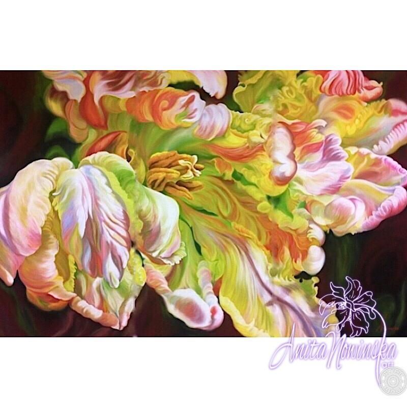 big bold interior wall decor, flower painting of parrot tulip by anita Nowinska