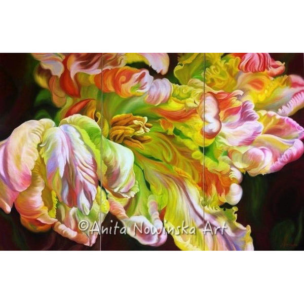 pink, green, white, yellow Parrot Tulip, Flower painting by Anita Nowinska