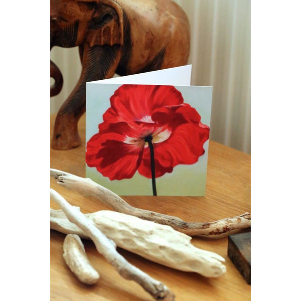 red poppy, Flower Painting, greetings card-aniat nowinska