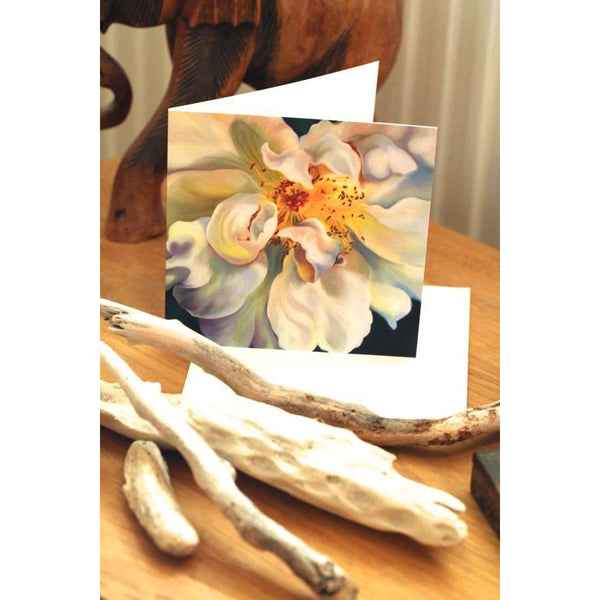greetings card,wild white briar rose-flower painting, anita nowinska