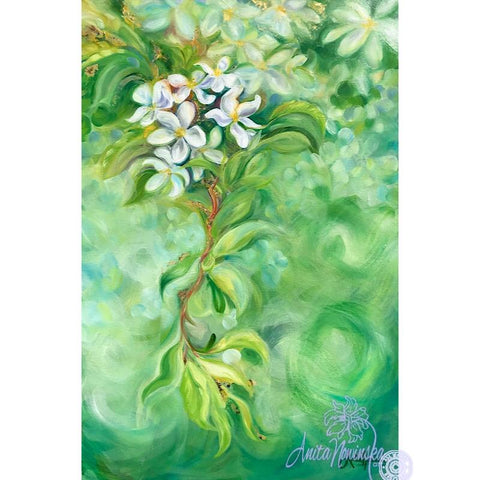 floral painting of white apple blossom on green background in oil on canvas by anita nowinska