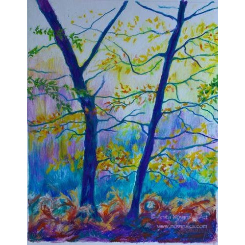 Autumn layers-trees in autumn painting