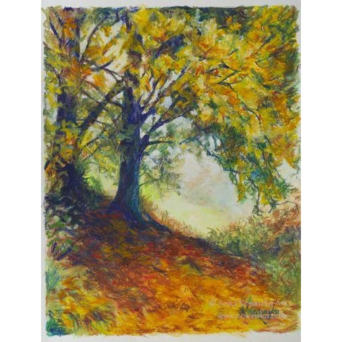 Autumn Chill- Autumn Trees,Woodland Path- Original mixed media framed painting