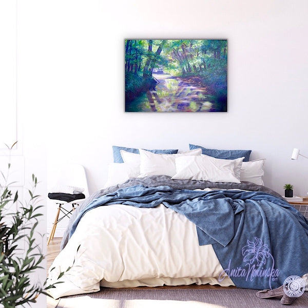 bedroom decor with relaxing painting of river running through trees by Anita Nowinska