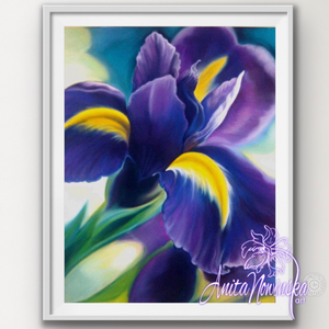 framed print of purple iris floral painting by Anita Nowinska