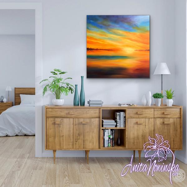 Azure Blaze - Sunset oil on canvas