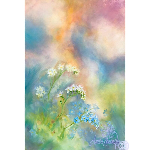 blue, pink & peach flower painting with forget me nots by anita nowinska