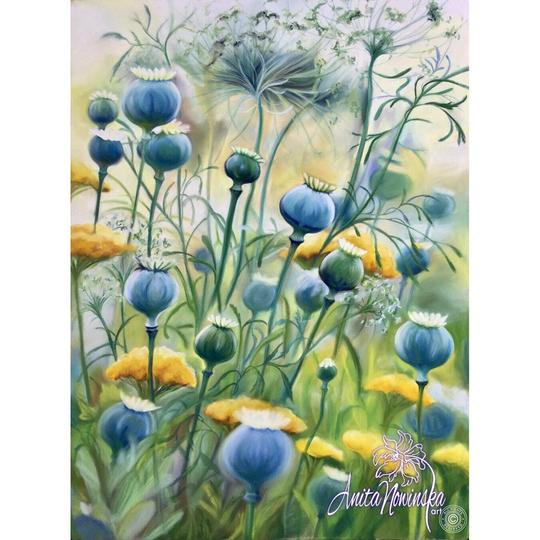 limited edition print of blue poppy pod meadow flower painting by Anita Nowinska