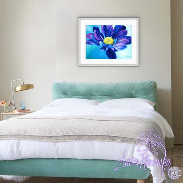 Daisy Blue- Blue Aster Flower Painting