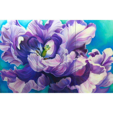 big flower painting of purple parrot tulip on turquoise background