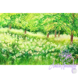 bright painting of green Spring meadow with trees by Anita Nowinska