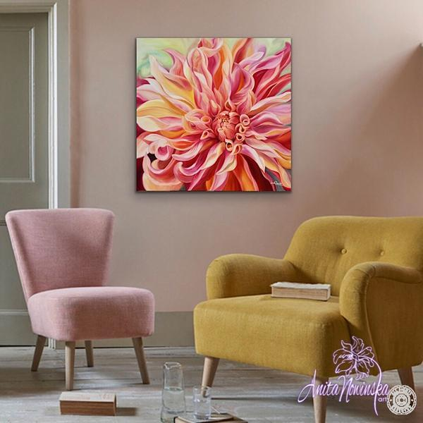 interior decor big floral wall art of peach dahlia flower painting
