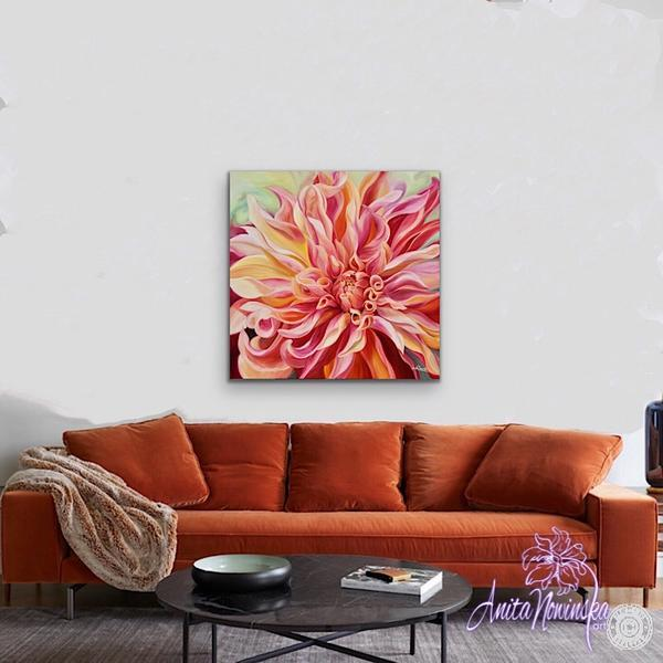 Labyrinth- Peach Dahlia Big Flower painting