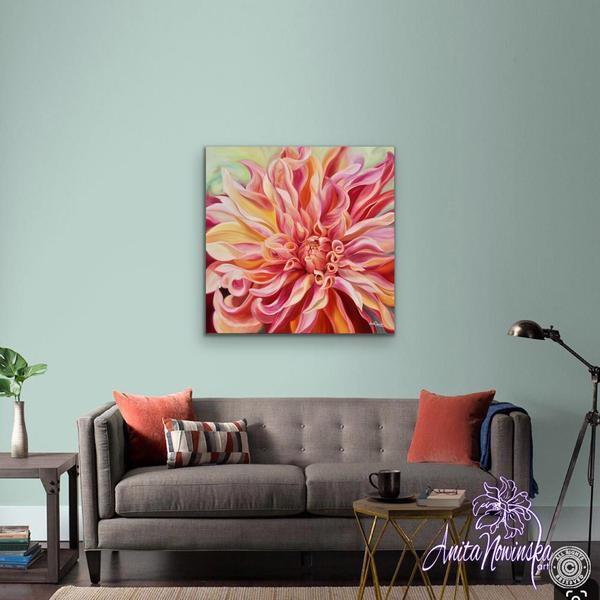living room decor with peach dahlia big flower painting wall art