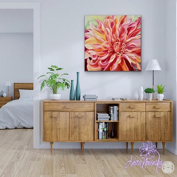 hallway decor with big flowr painting of peach & orange dahlia