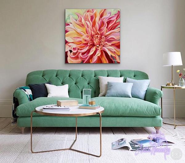 living room decor canvas Print of peach labyrinth dahlia by Anita nowinska