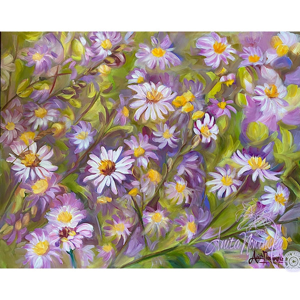 lilac lilac aster flower painting. home accents on canvas by anita nowinska flower painting. home accents on canvas by anita nowinska
