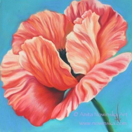 Pack of 4, 'Feelme' Art Greetings Cards-  Dalliance, Red Poppy