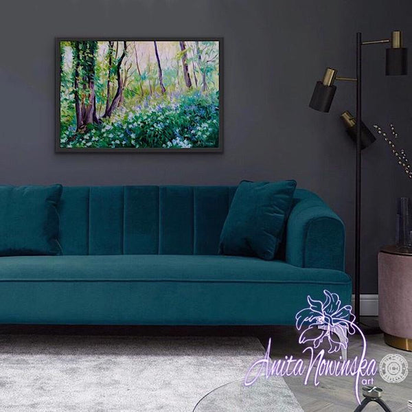 dark interior decor with green & blue landscape of bluebell woods