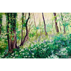 landscape painting of bluebell & ransom woods in green blue & white-oil on canvas by Anita nowinska