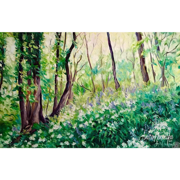 Spring Light- bluebell & ransom woods- landscape painting- oil on canvas