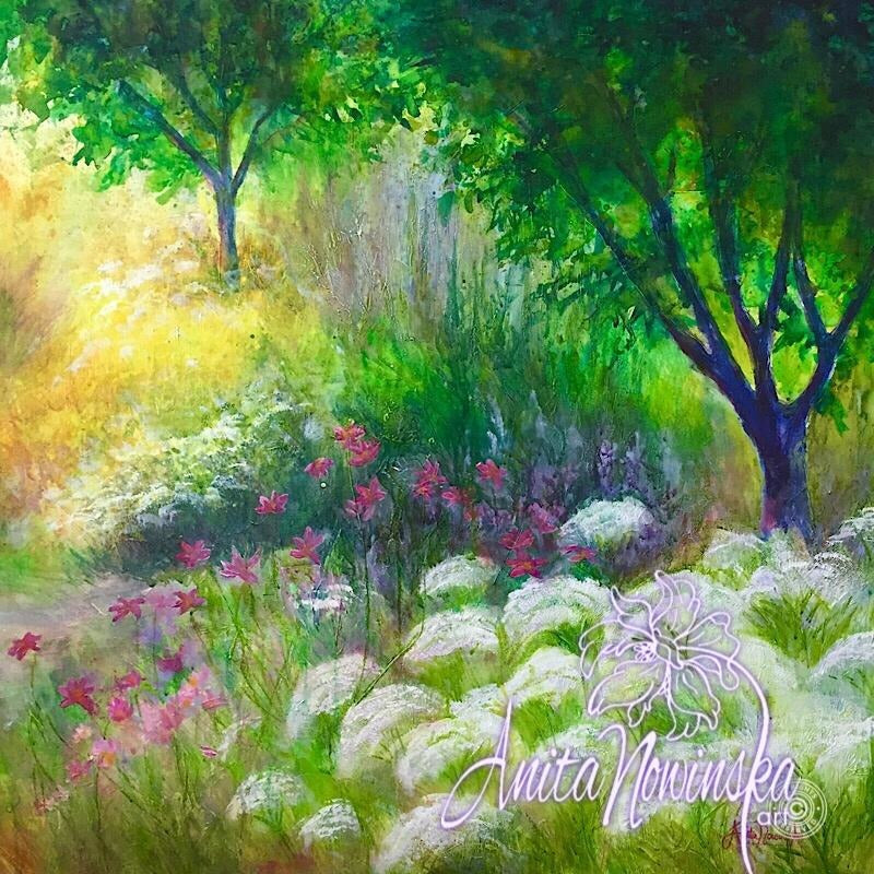 secret garden, garden flower painting, original art, anita nowinska, interiors, decor