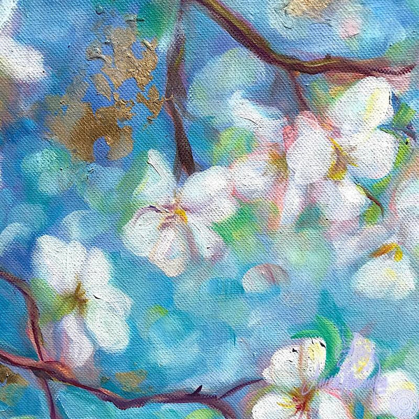 white apple blossom on blue sky & gold leaf, flower painting by Anita Nowinska