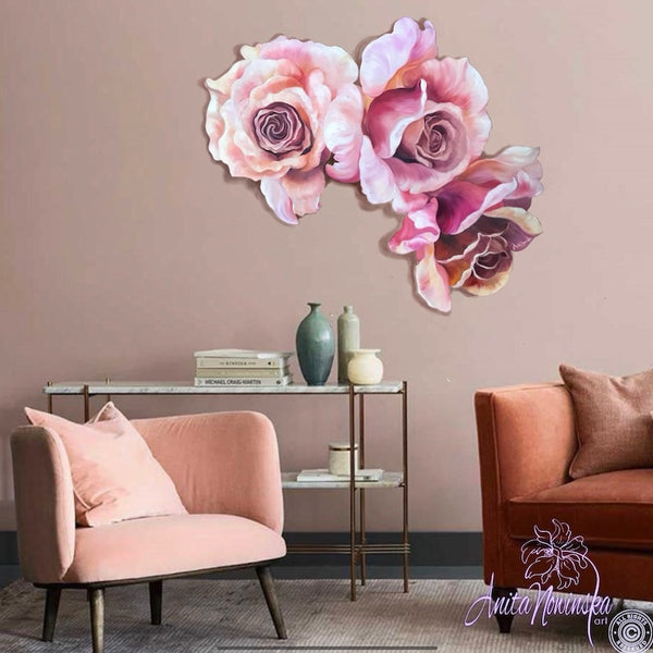 dusty pink roses , freeform wall decor flower painting