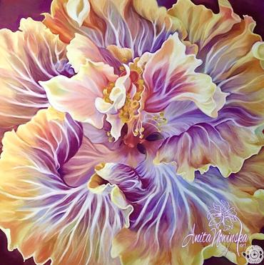 flamboyance- orange & purple hibiscus flower painting by Anita Nowinska
