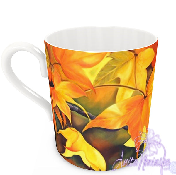 floral art bone china cup home accessories, autumn leaves