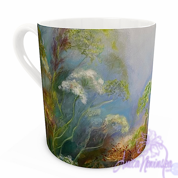 floral art bone china cup home accessories, misty hedgerow