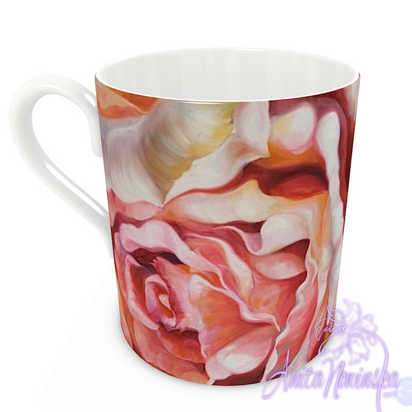 floral art bone china cup home accessories, peach roses