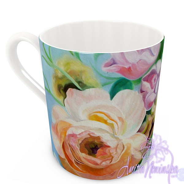 floral art bone china cup home accessories, peach & pink roses