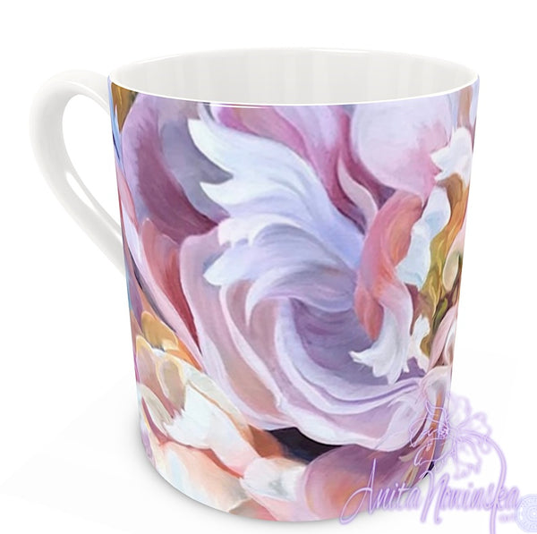 floral art bone china cup home accessories, pink peony
