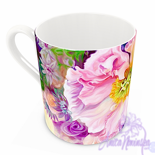 floral art bone china cup home accessories, pink poppy lilac