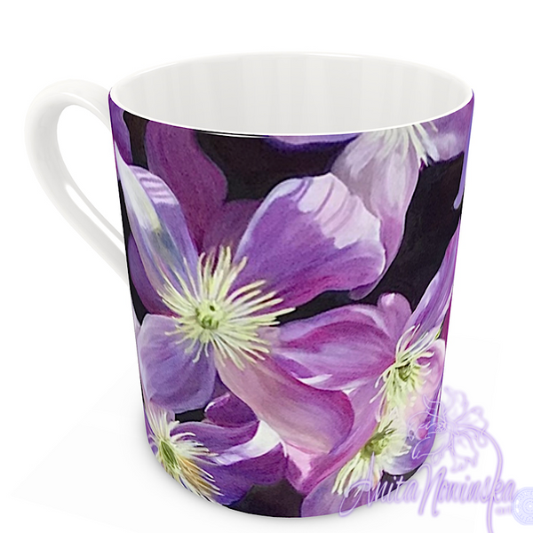 floral art bone china cup home accessories, purple clematis