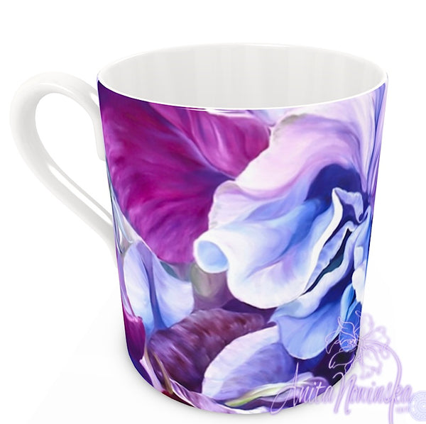 floral art bone china cup home accessories, purple sweet peas