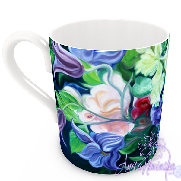 floral art bone china cup home accessories, teal, pink, blue
