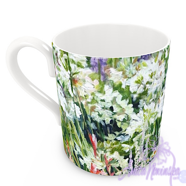 floral art bone china cup home accessories, white garden