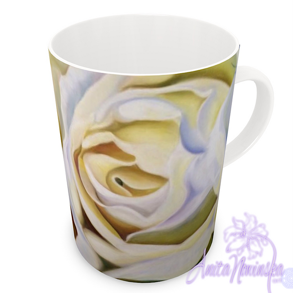 floral art bone china cup home accessories, white roses