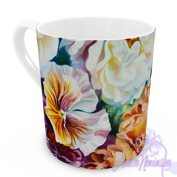 floral art bone china cup home accessories, pansies, gold roses