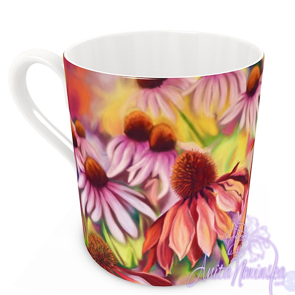 floral art bone china cup home accessories, echinacea garden